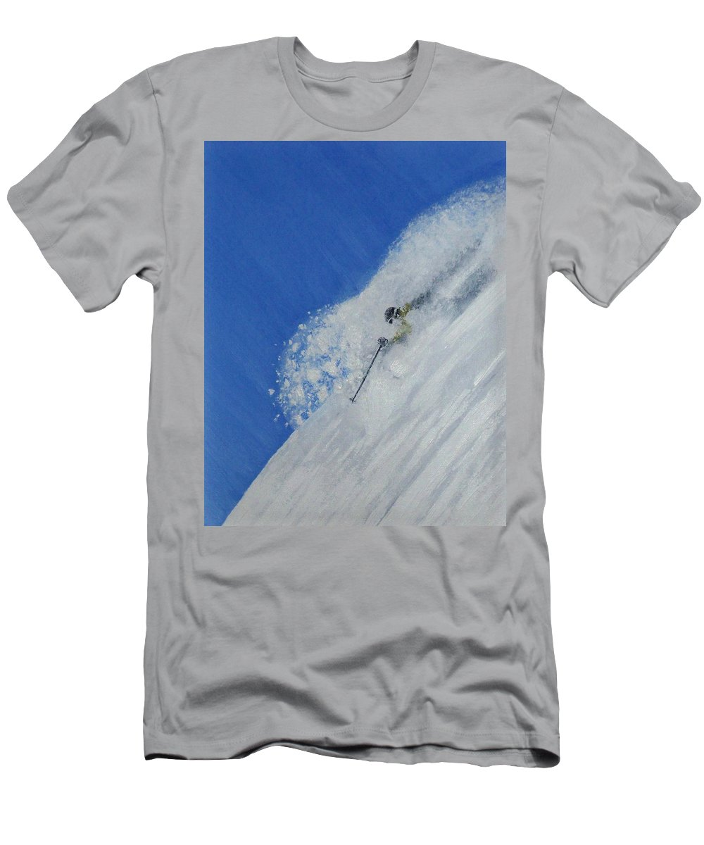 Ski Men's T-Shirt (Athletic Fit) featuring the painting First by Michael Cuozzo