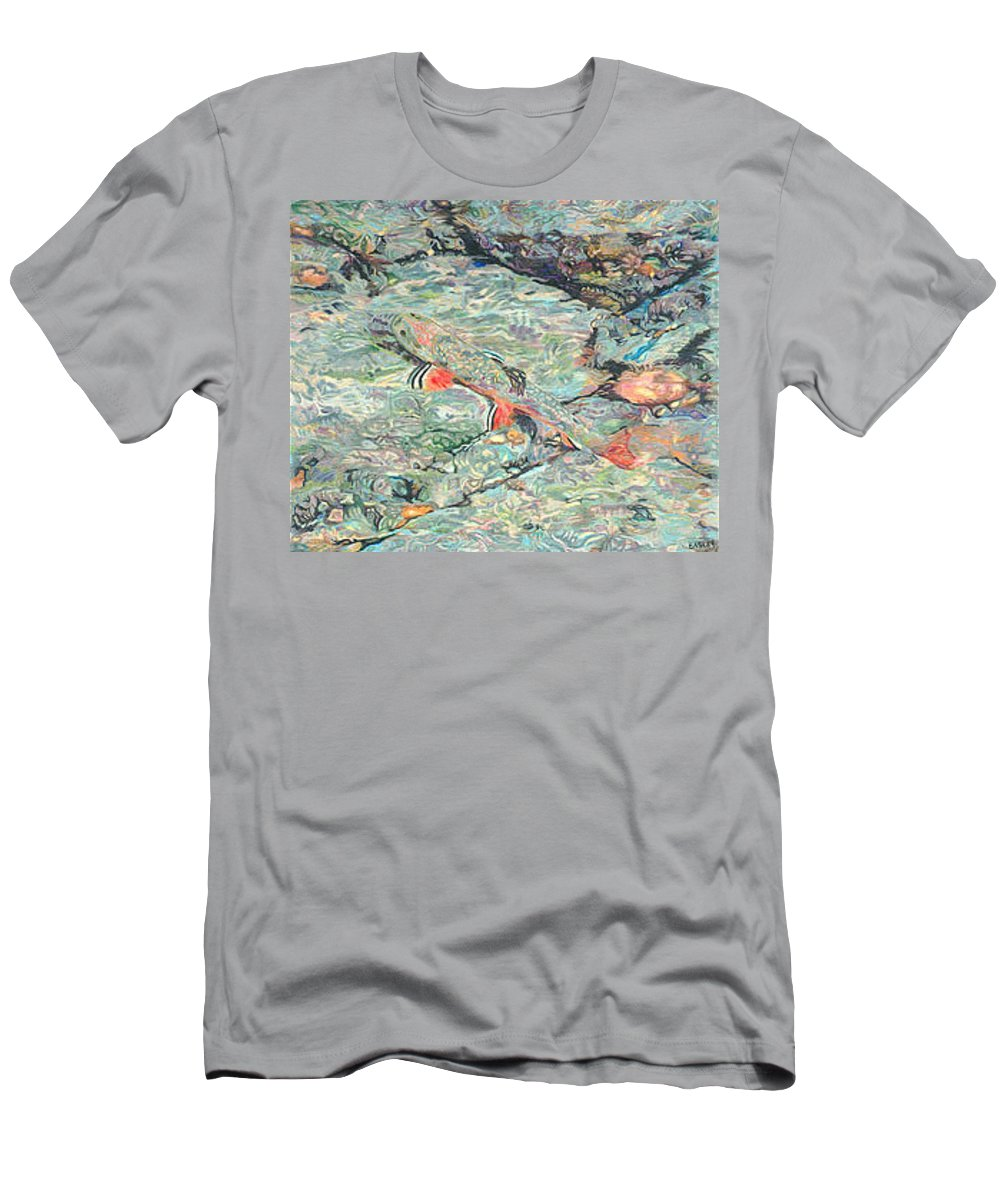 Art Men's T-Shirt (Athletic Fit) featuring the drawing Fish Art Trout Art Brook Trout Brookie Artwork Nature Underwater Wildlife Creek Art River Art Lake by Baslee Troutman