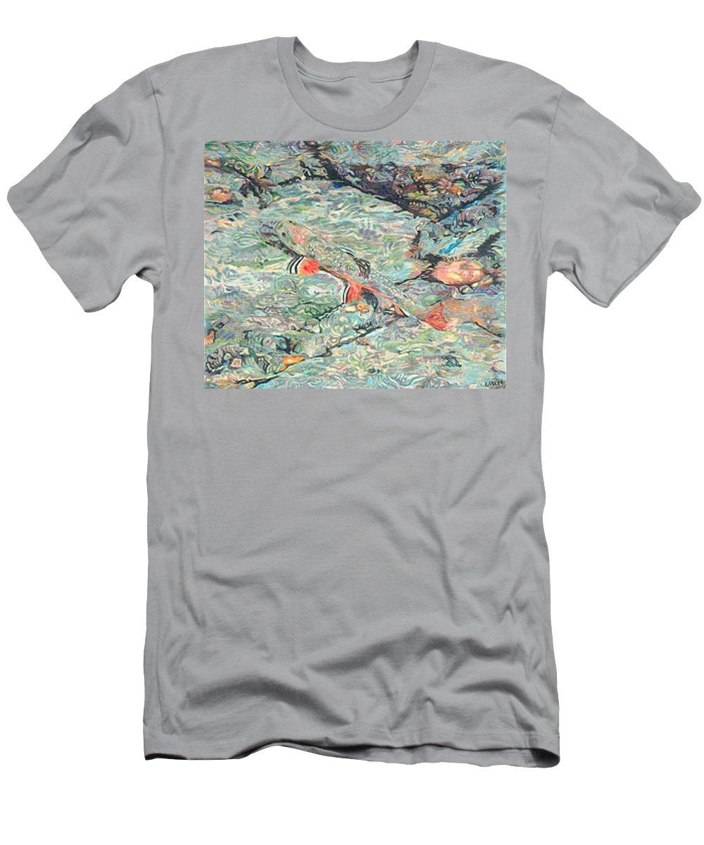 Art T-Shirt featuring the drawing Fish Art Trout Art Brook Trout Brookie Artwork Nature Underwater Wildlife Creek Art River Art Lake by Patti Baslee
