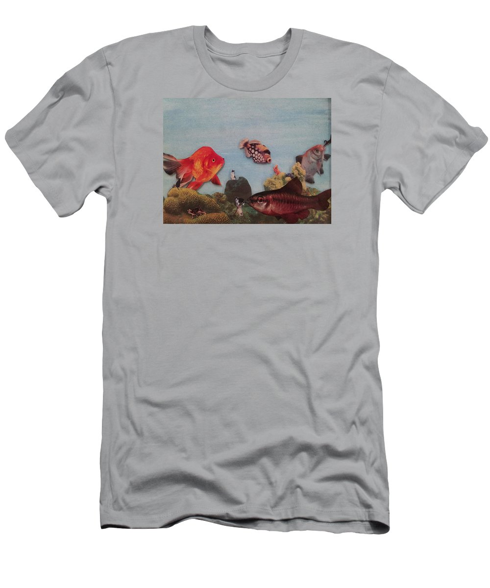 Dreams Successions Of Images Men's T-Shirt (Athletic Fit) featuring the mixed media Fish Eating Cats. by William Douglas