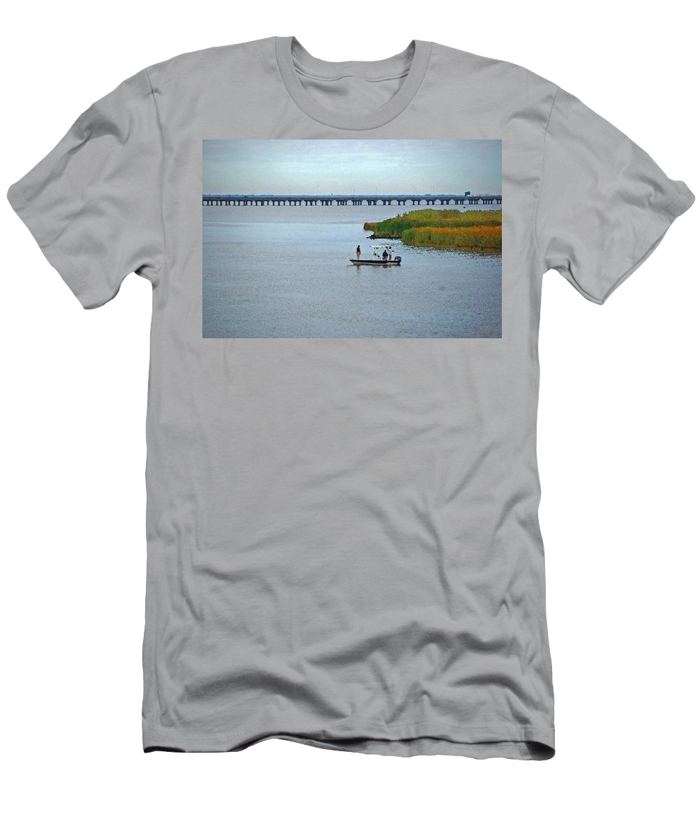 Pelican Men's T-Shirt (Athletic Fit) featuring the digital art Fishing On The Flats by Michael Thomas