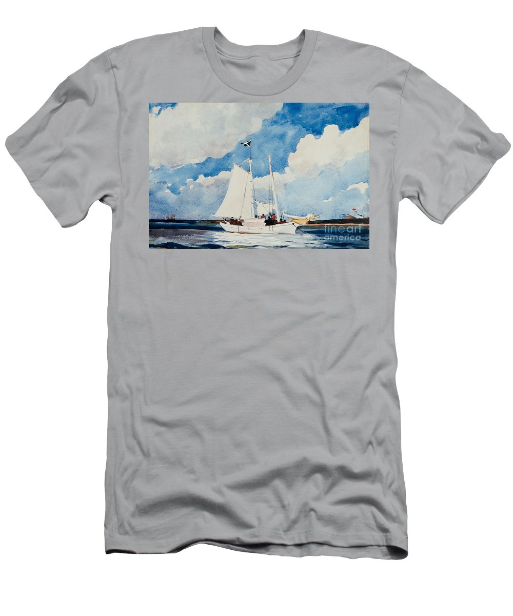 Boat Men's T-Shirt (Athletic Fit) featuring the painting Fishing Schooner In Nassau by Winslow Homer