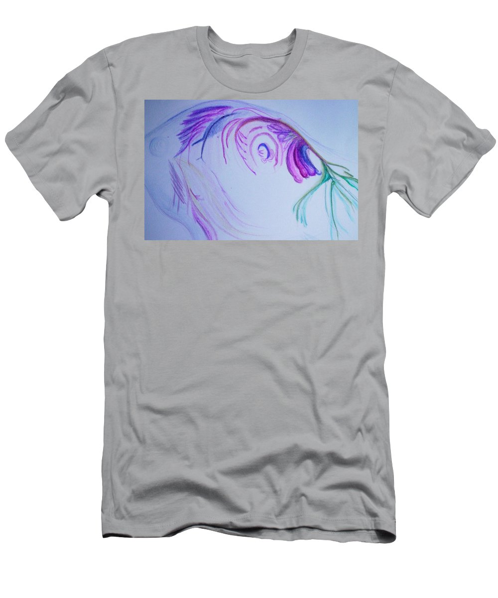 Abstract Painting Men's T-Shirt (Athletic Fit) featuring the painting Fishy by Suzanne Udell Levinger