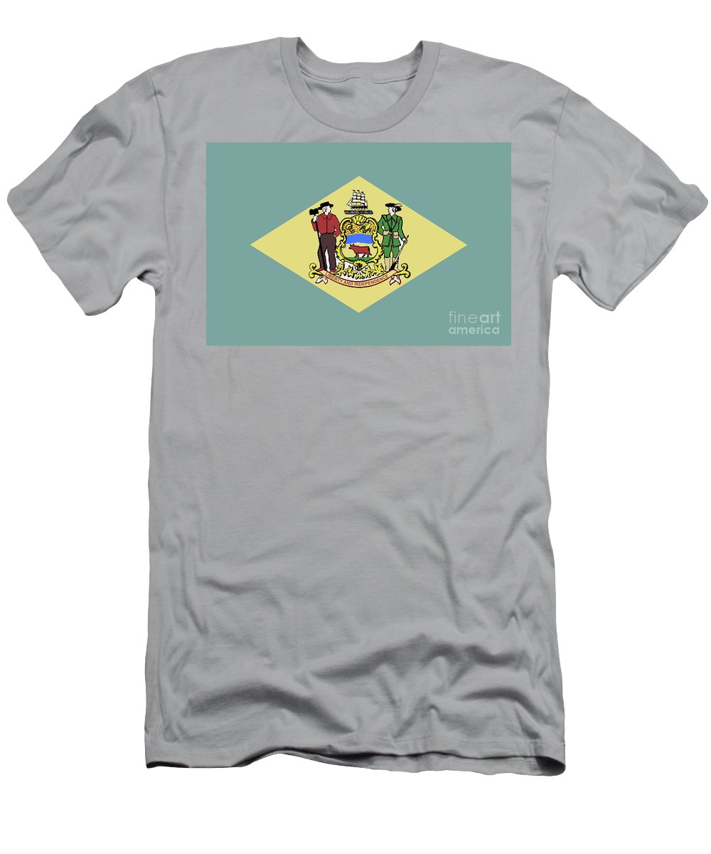 Delaware Men's T-Shirt (Athletic Fit) featuring the digital art Flag Of Delaware by Bigalbaloo Stock