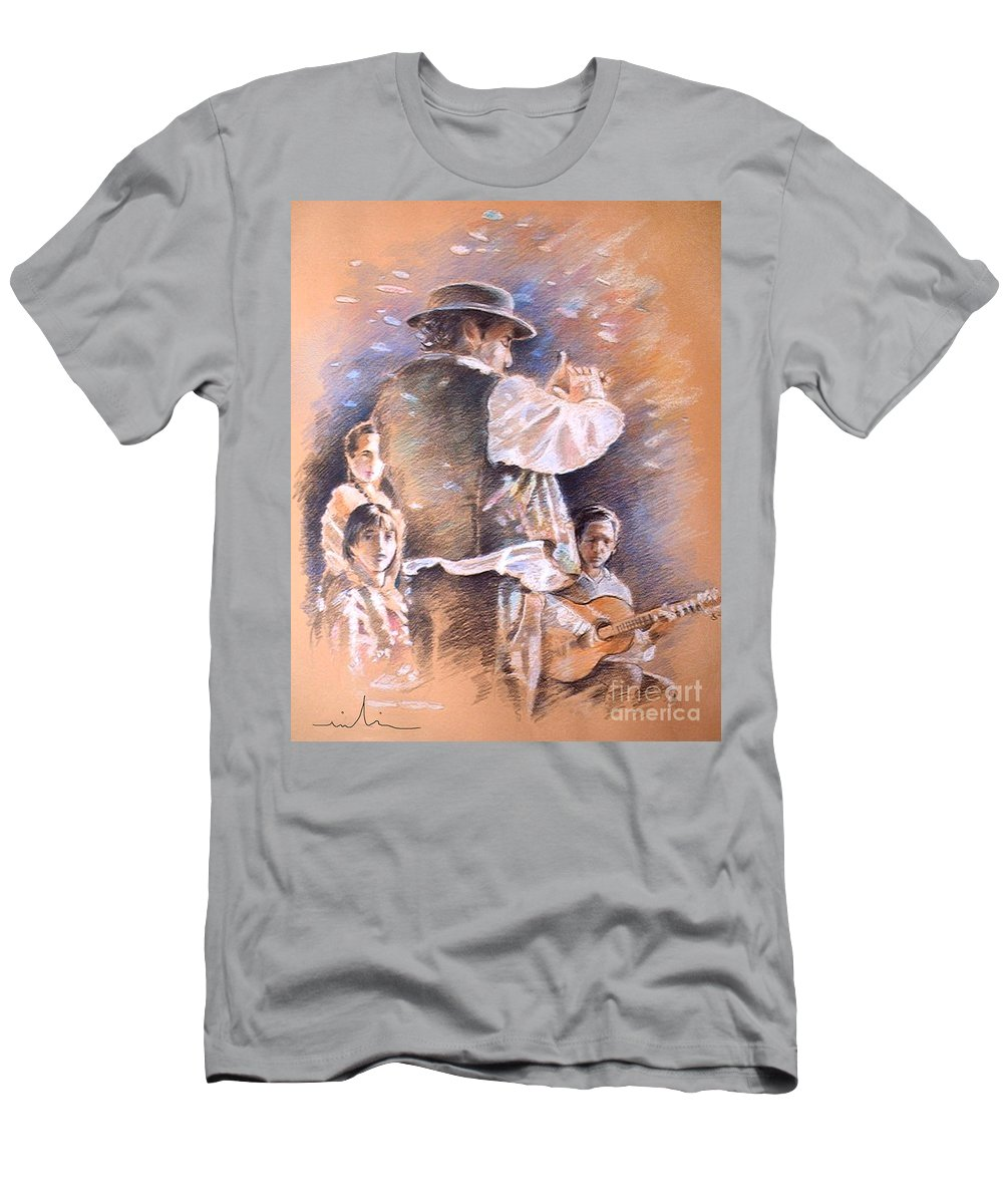 Spain Folklore Men's T-Shirt (Athletic Fit) featuring the painting Flamenco Group by Miki De Goodaboom