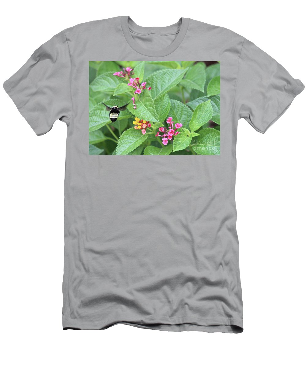 Bee Men's T-Shirt (Athletic Fit) featuring the photograph Flight Of The Bumble Bee by Carol Groenen
