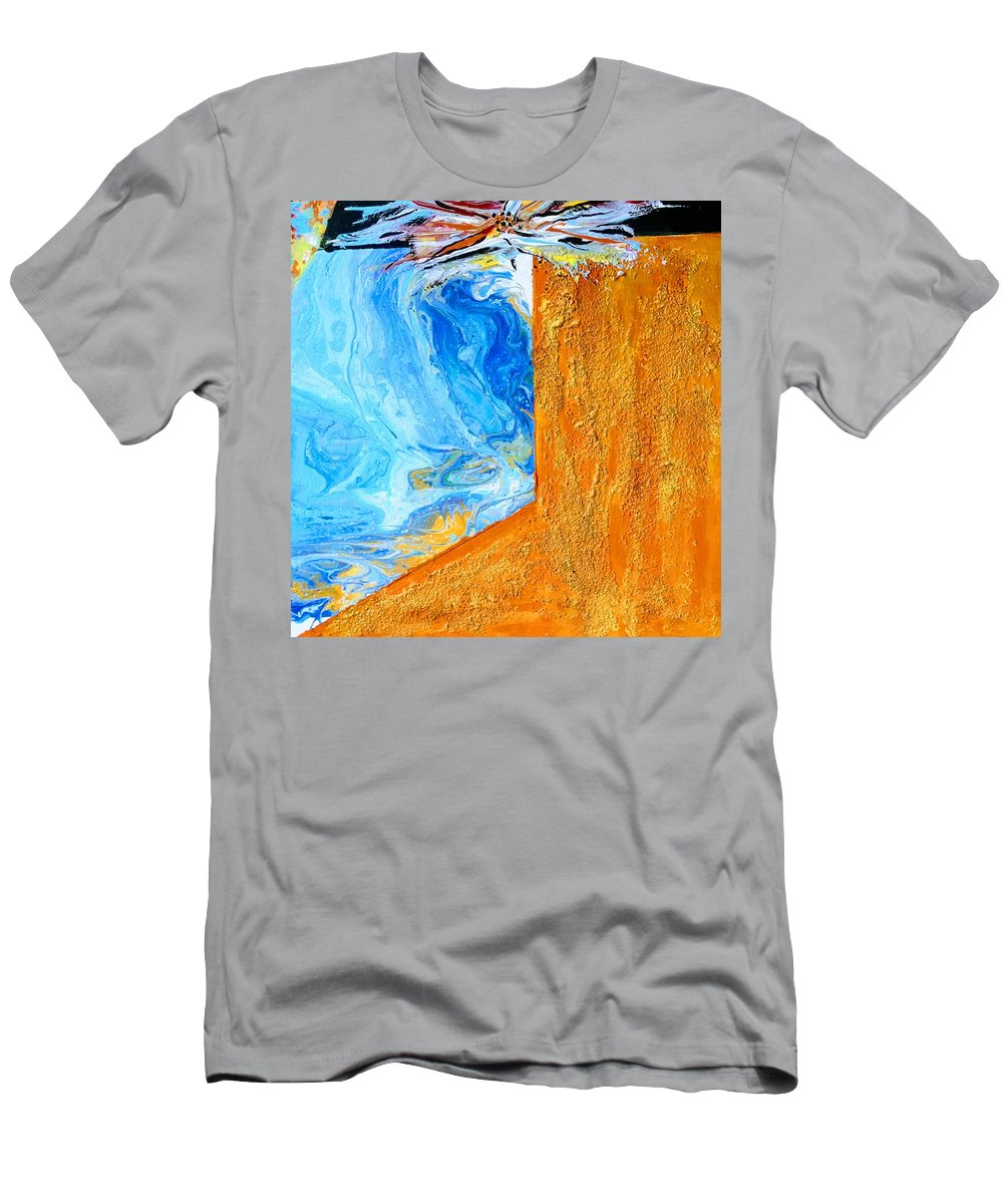 Mixed Media Canvas Gold Blue T-Shirt featuring the painting Flood and Fire by Valerie Josi