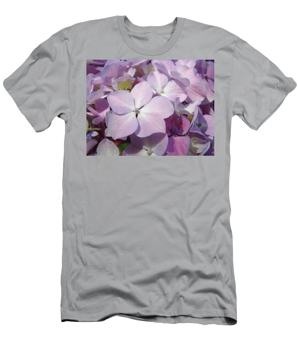 Nature Men's T-Shirt (Athletic Fit) featuring the photograph Floral Art Hydrangea Flowers Purple Lavender Baslee Troutman by Baslee Troutman