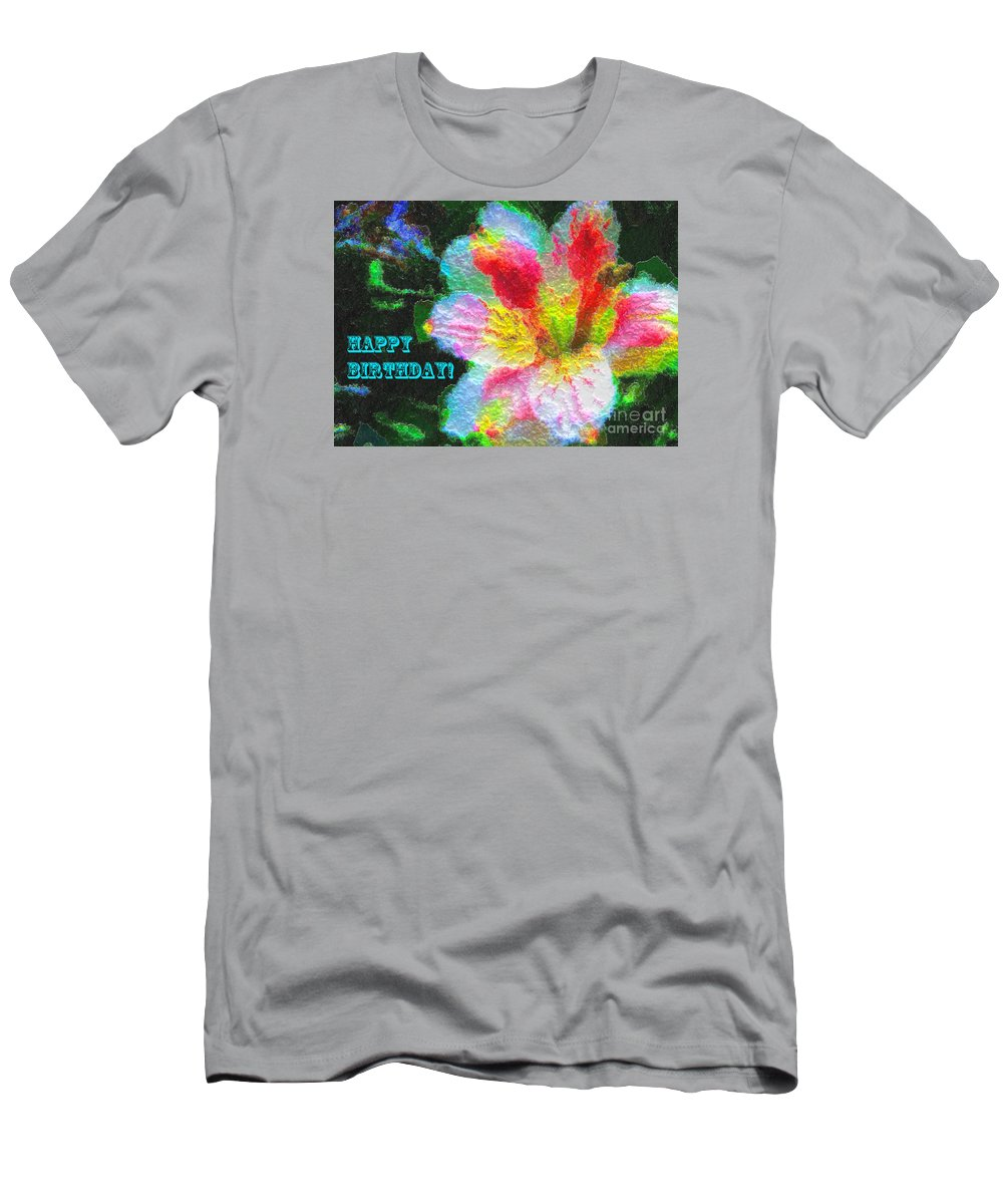 Photograph Men's T-Shirt (Athletic Fit) featuring the photograph Floral Birthday Card by Anna Sheradon