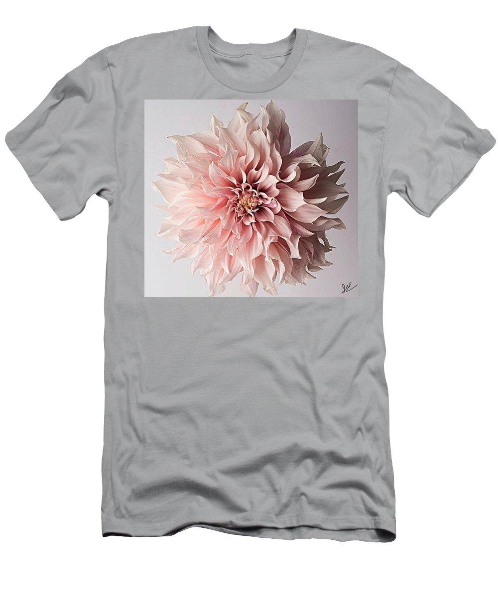 Flower Pink Elegant Breathtaking Men's T-Shirt (Athletic Fit) featuring the photograph Floral Elegance by Sarah Waldman