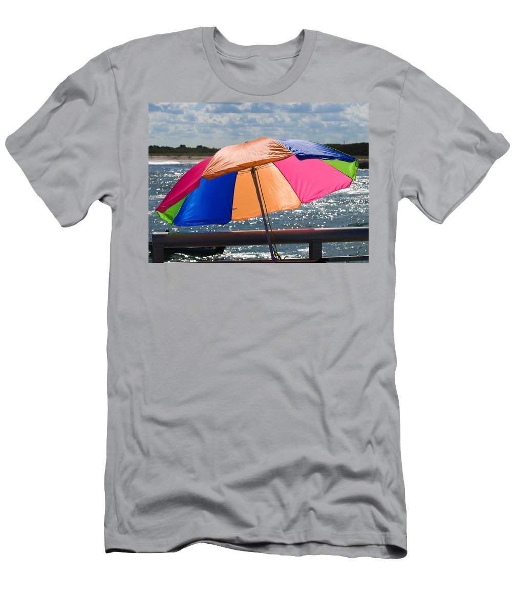 Umbrella; Florida; Sebastian; Inlet; Color; Sun; Sunshine; Afternoon; Fall; Beach; Colorful; Shore; Men's T-Shirt (Athletic Fit) featuring the photograph Florida Afternoon by Allan Hughes
