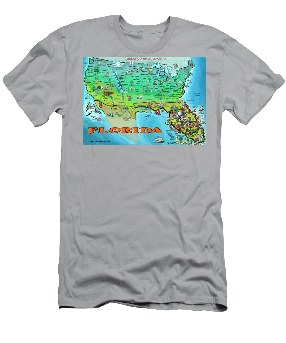 Florida Men's T-Shirt (Athletic Fit) featuring the painting Florida Usa Cartoon Map by Kevin Middleton
