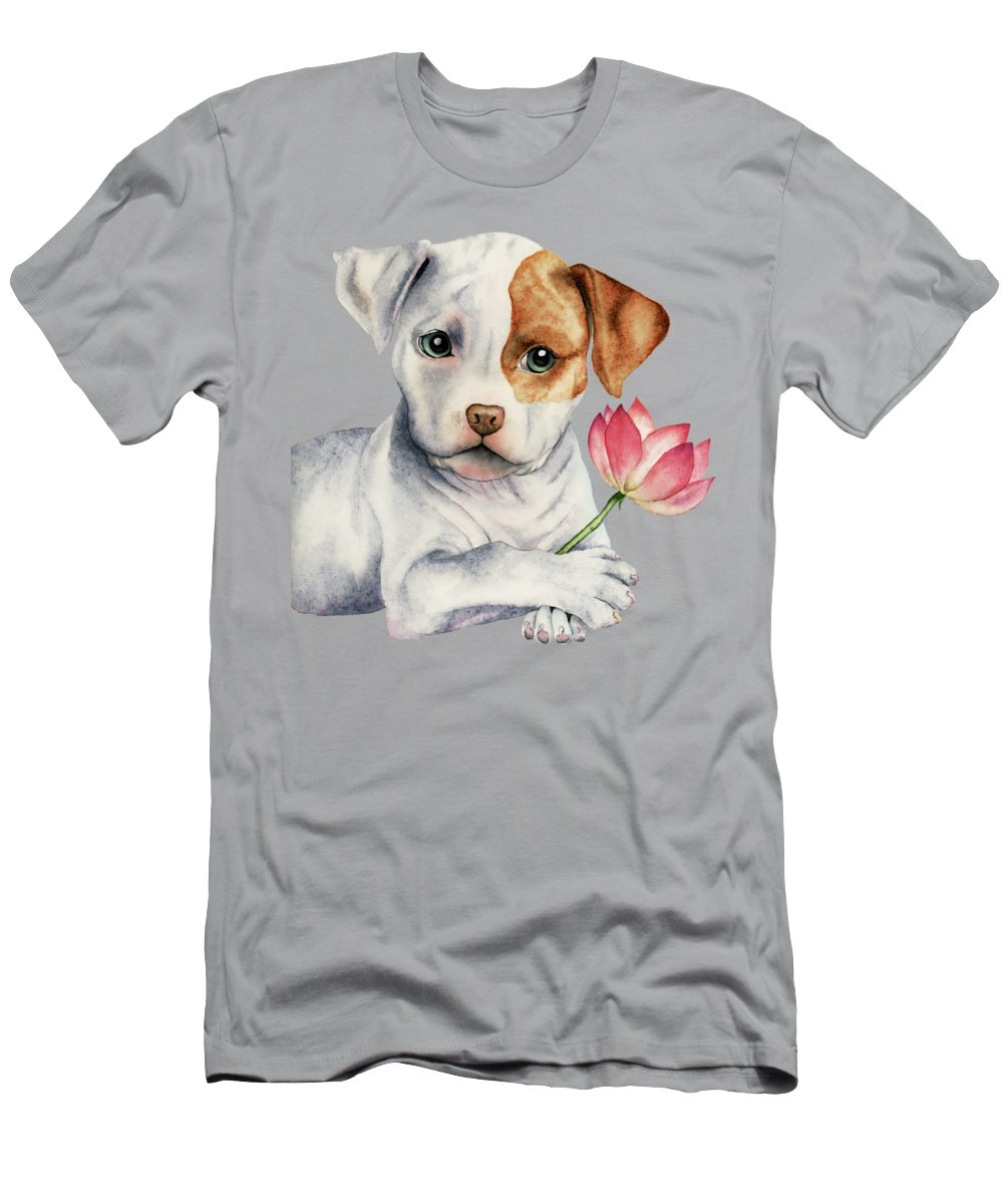 American Pit Bull Terrier Men's T-Shirt (Athletic Fit) featuring the painting Flower Child by NamiBear