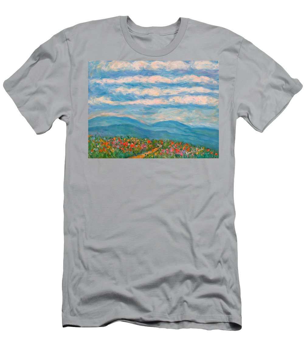 Blue Ridge Paintings Men's T-Shirt (Athletic Fit) featuring the painting Flower Path To The Blue Ridge by Kendall Kessler