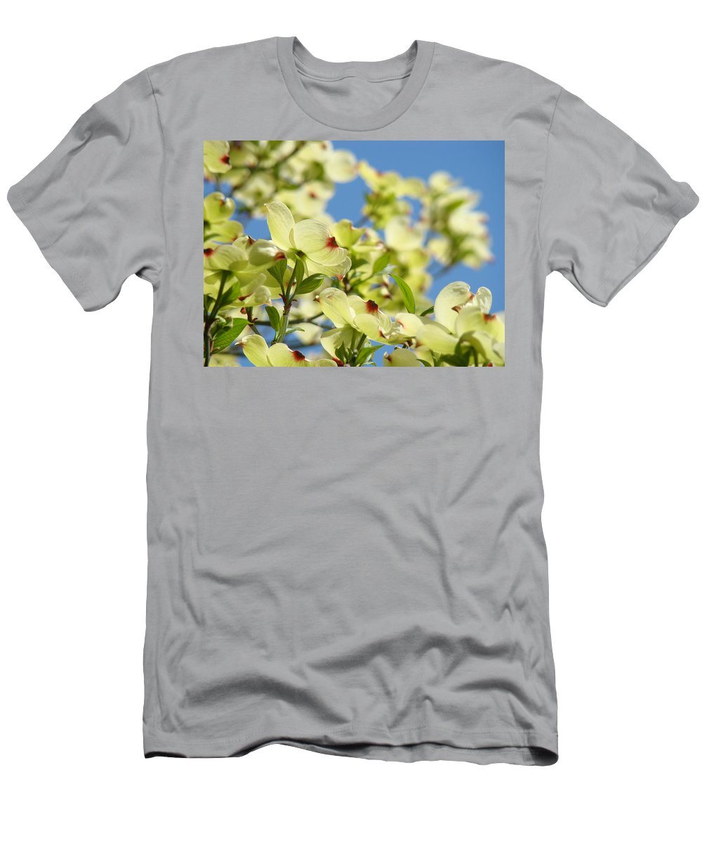 Dogwood Men's T-Shirt (Athletic Fit) featuring the photograph Flowering Dogwood Tree Art Print White Dogwood Flowers Blue Sky Art by Baslee Troutman