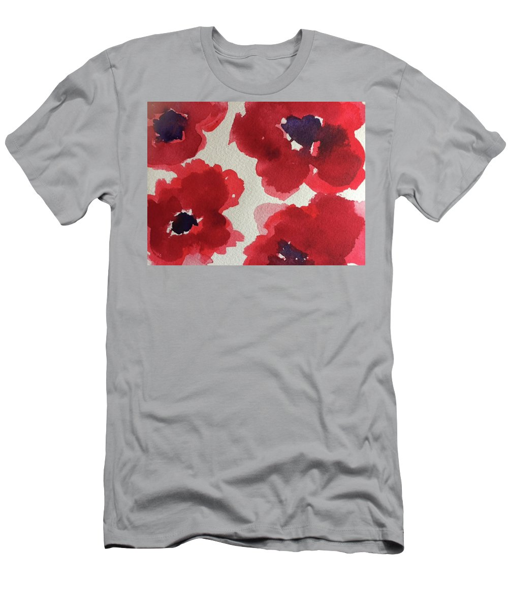Poppy Men's T-Shirt (Athletic Fit) featuring the painting Poppy Happiness by Bonny Butler