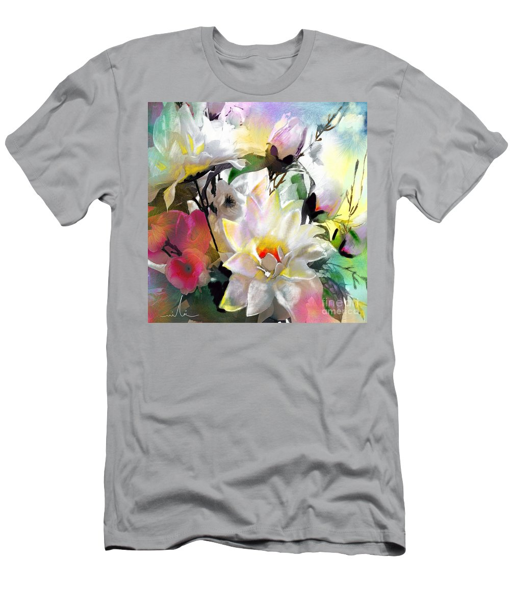 Flowers Painting Drawing Art Men's T-Shirt (Athletic Fit) featuring the painting Flowers For My Friend by Miki De Goodaboom