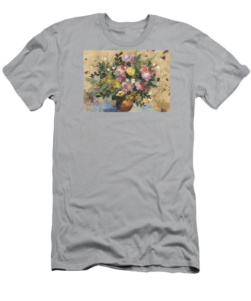 Limited Edition Prints Men's T-Shirt (Athletic Fit) featuring the painting Flowers In A Clay Vase by Nira Schwartz