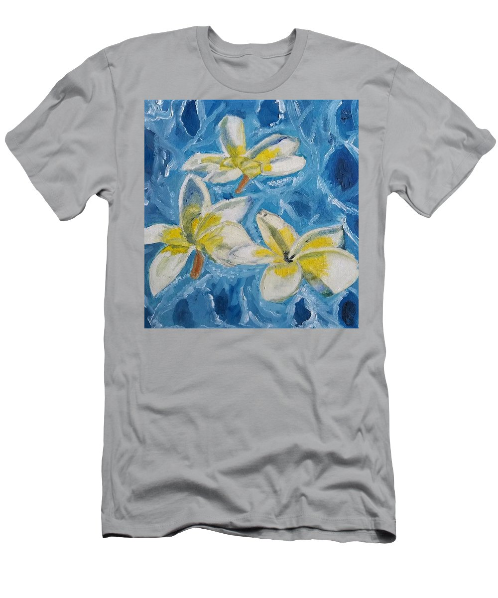 Flowers Men's T-Shirt (Athletic Fit) featuring the painting Flowers On Water Ripples by Siddiqa Rizvi
