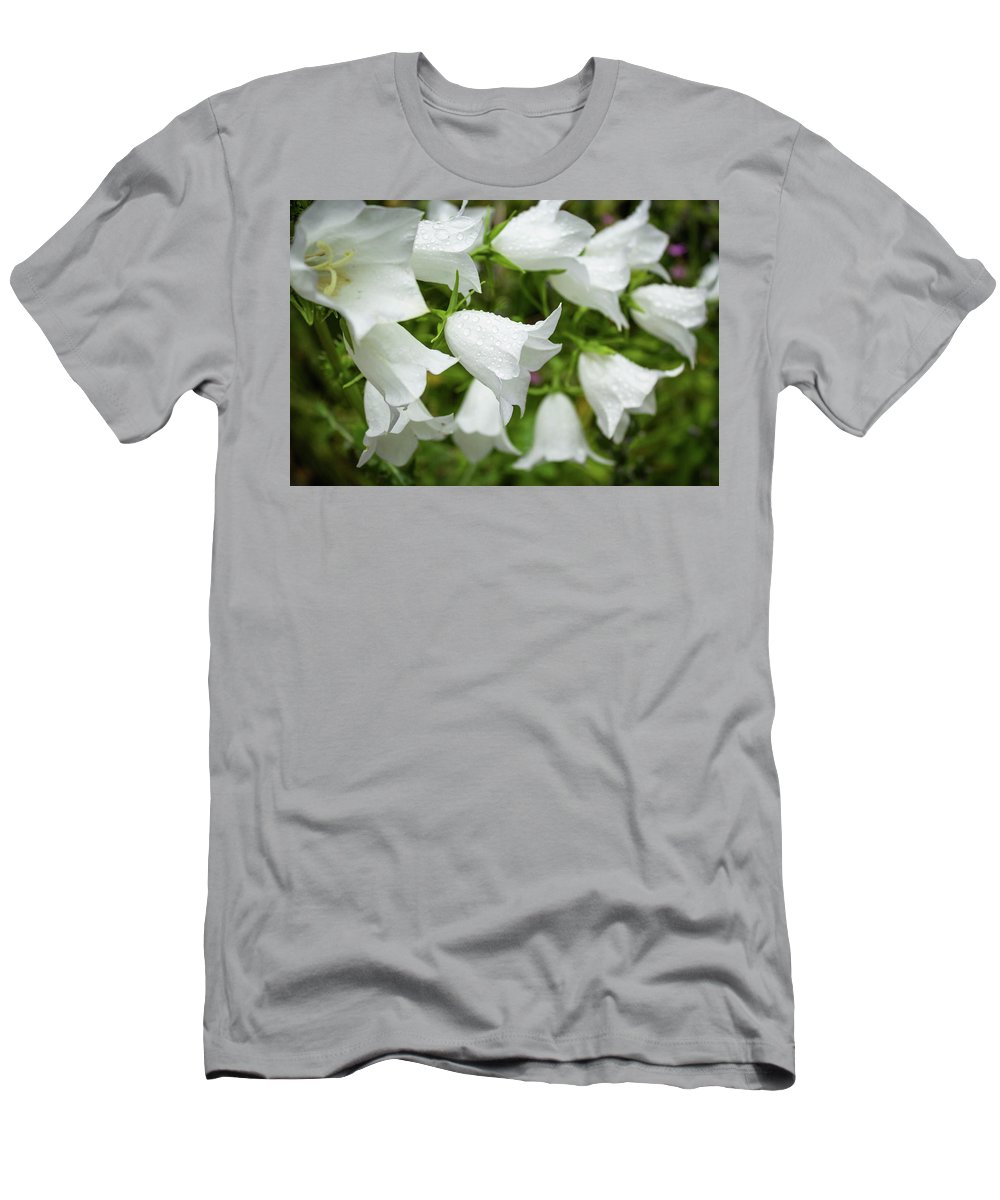 Flower Men's T-Shirt (Athletic Fit) featuring the photograph Flowers With Droplets 1 by Mark Denton