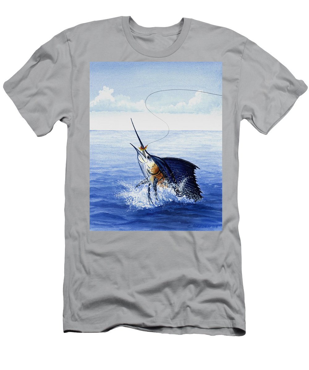 Charles Men's T-Shirt (Athletic Fit) featuring the painting Fly Fishing For Sailfish by Charles Harden
