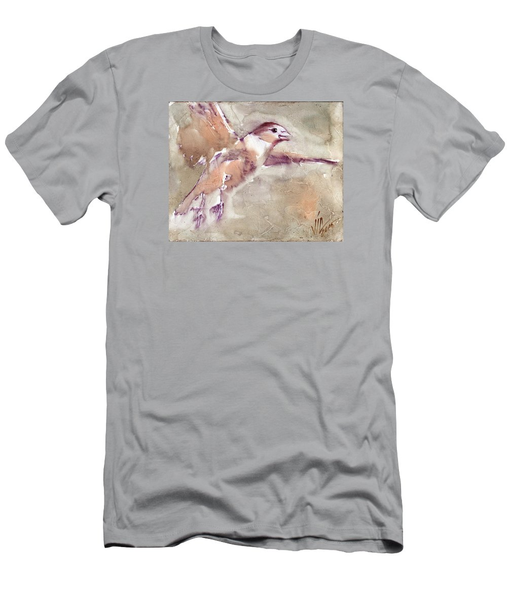 No People Men's T-Shirt (Athletic Fit) featuring the painting Flying by Vali Irina Ciobanu