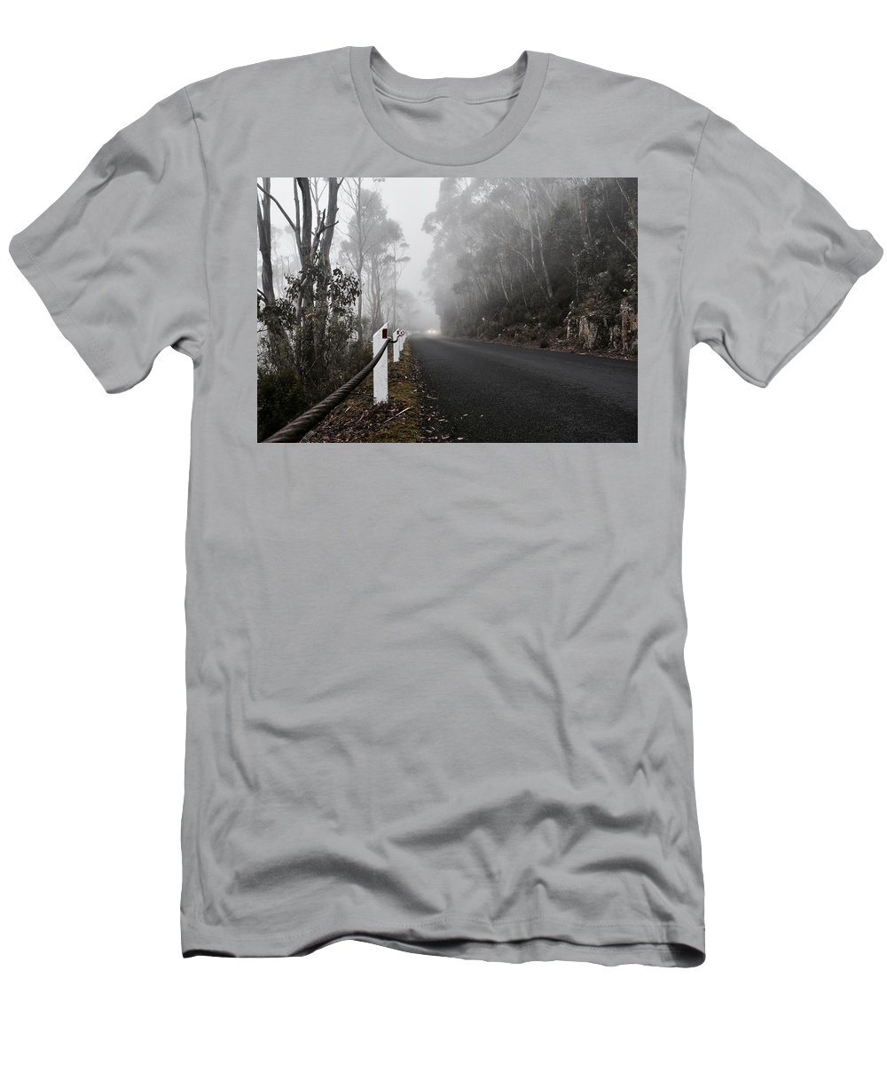 Mist Men's T-Shirt (Athletic Fit) featuring the photograph Fog In The Mountains by Liam Young
