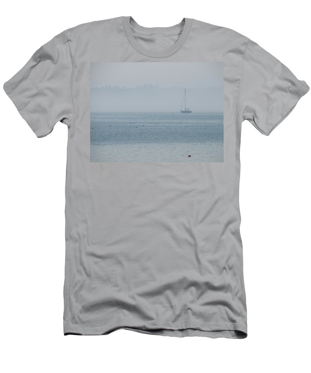 Fog Men's T-Shirt (Athletic Fit) featuring the photograph Fog On Davis Cove by Kelly Mezzapelle