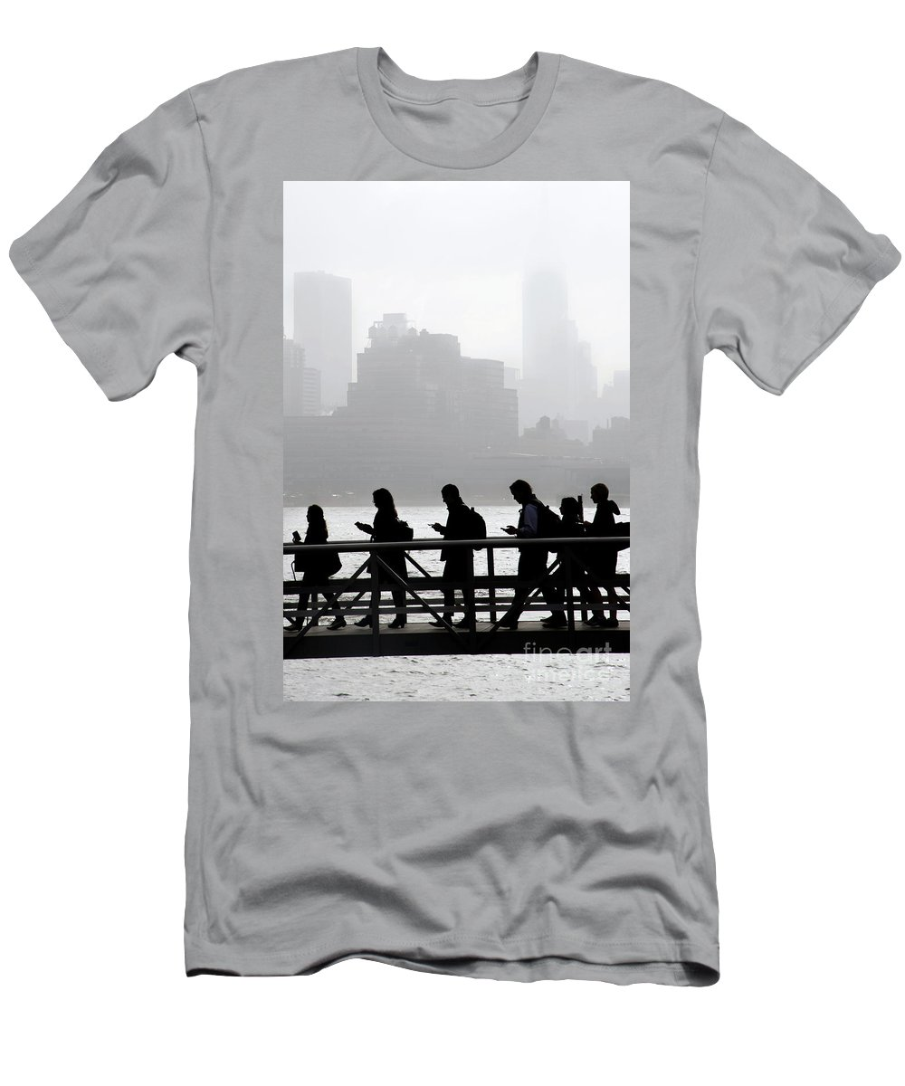 Boat Men's T-Shirt (Athletic Fit) featuring the pyrography Fog On The Hudson by Joe Epstein
