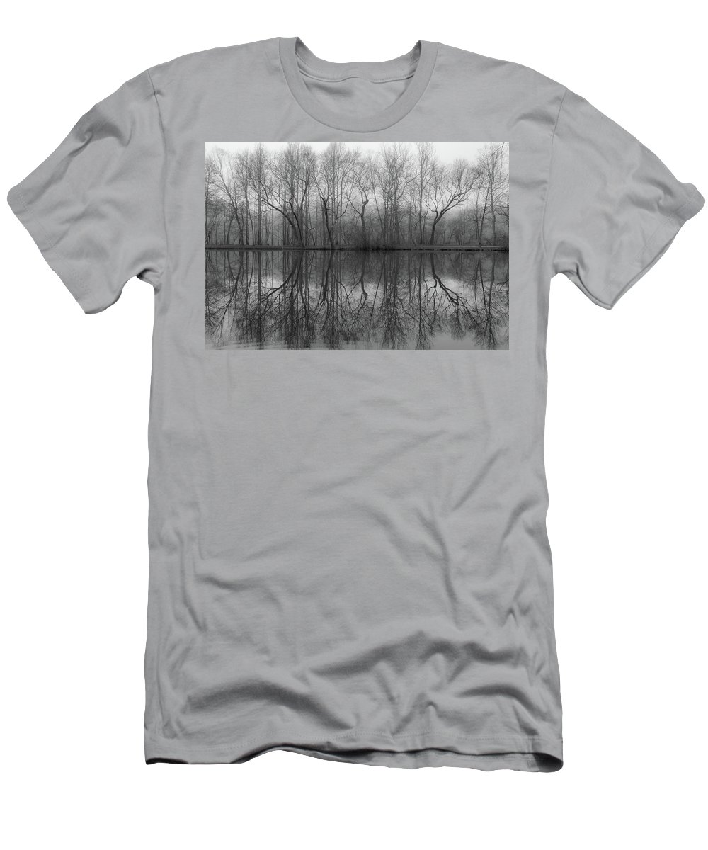 Lagoon Men's T-Shirt (Athletic Fit) featuring the photograph Foggy Lagoon Reflection #3 by Dan Farmer