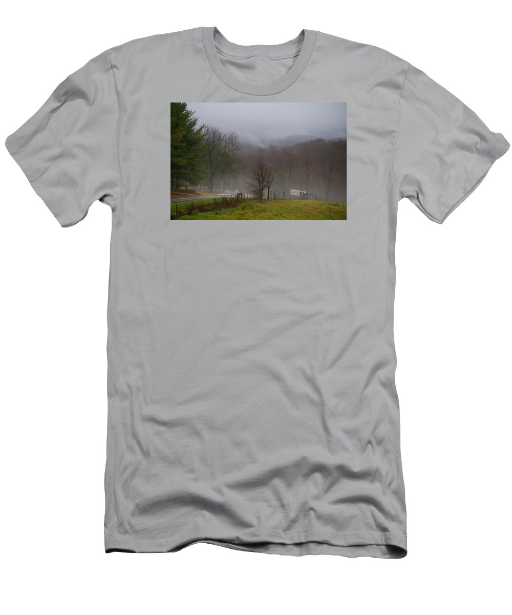 Fog Men's T-Shirt (Athletic Fit) featuring the photograph Foggy Day by Kathryn Meyer