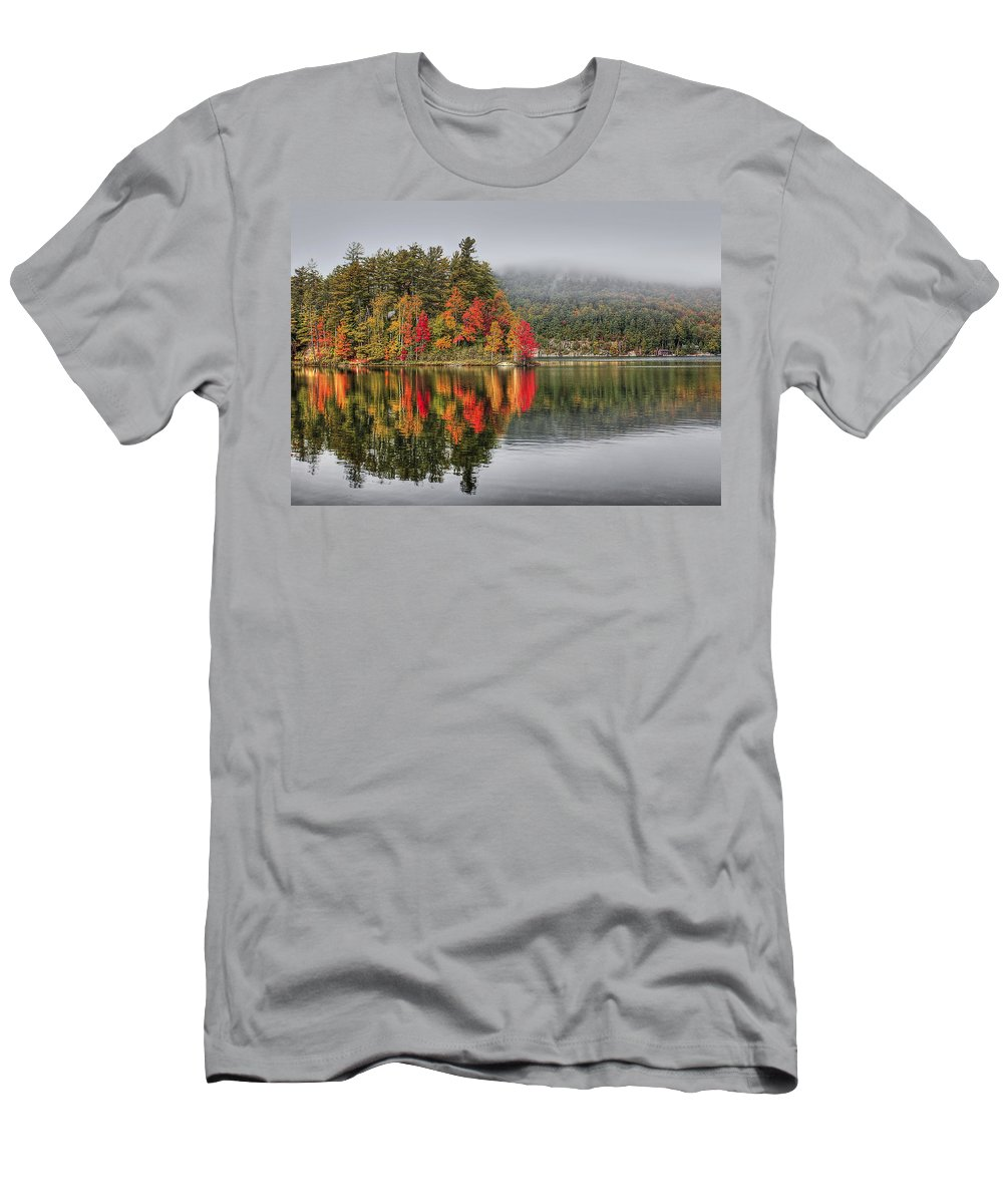 Autumn Men's T-Shirt (Athletic Fit) featuring the photograph Foggy Morning by Evelina Kremsdorf
