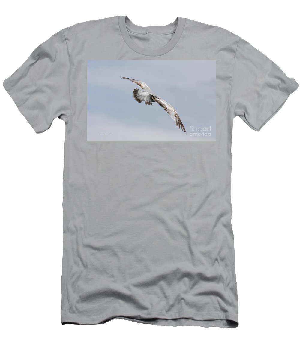 Seagull Men's T-Shirt (Athletic Fit) featuring the photograph Following The Seagull by Deborah Benoit