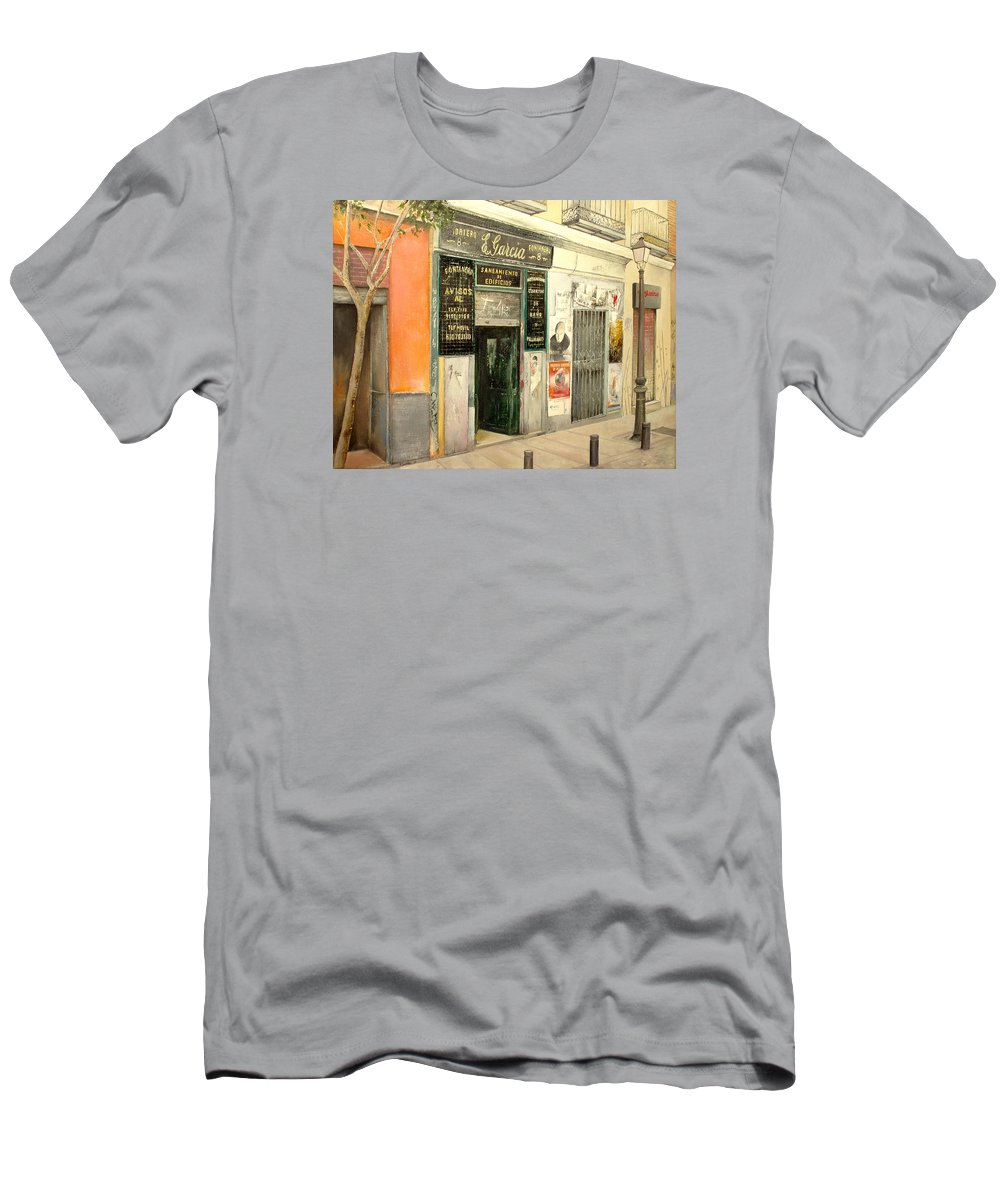 Streetscene Men's T-Shirt (Athletic Fit) featuring the painting Fontaneria E.garcia by Tomas Castano