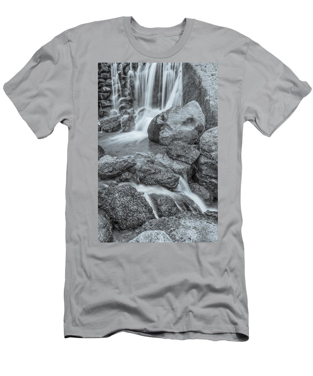 Cascade Creek Men's T-Shirt (Athletic Fit) featuring the photograph Fontus, The Roman God Of Wells And Springs by Bijan Pirnia