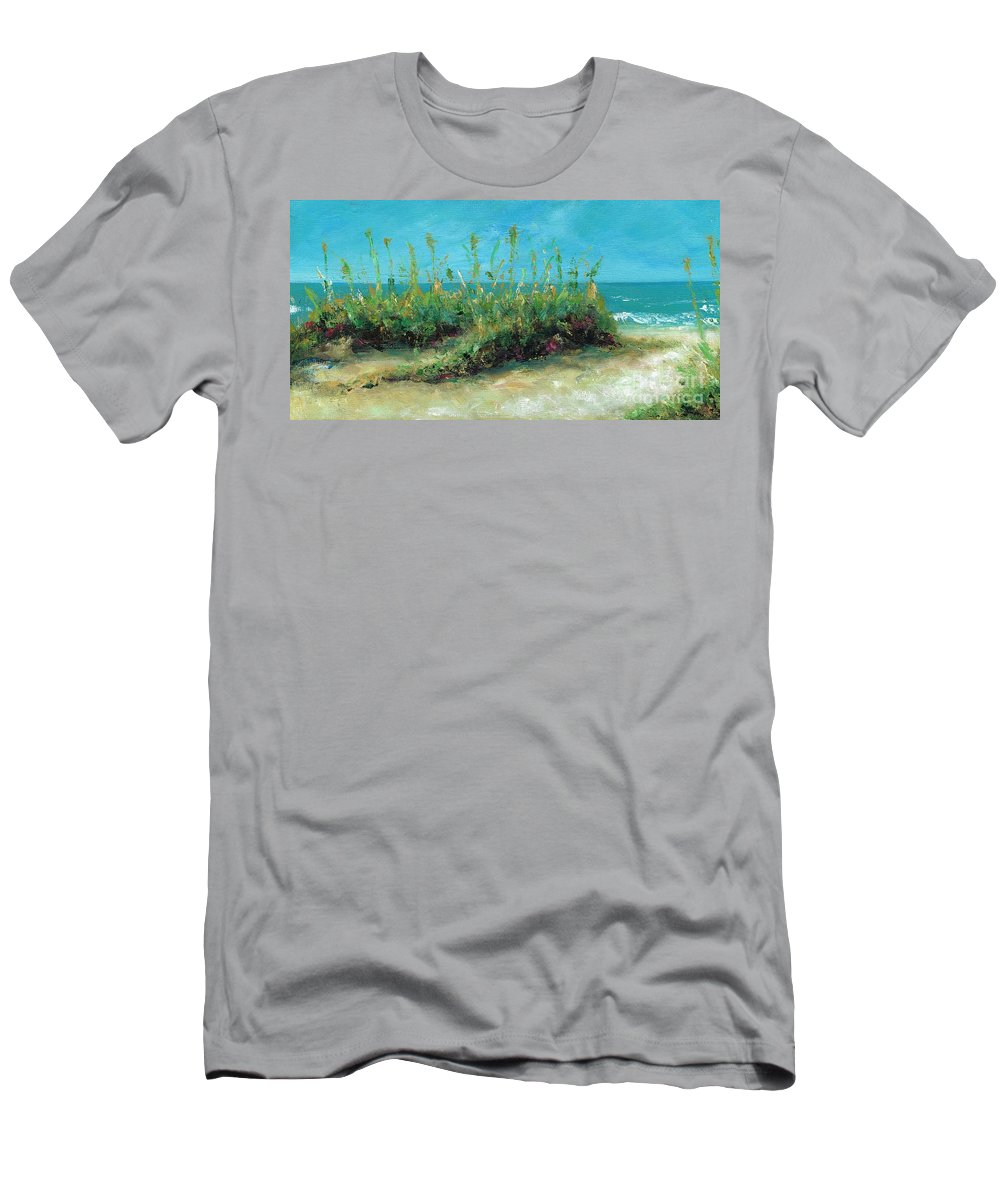 Beaches Men's T-Shirt (Athletic Fit) featuring the painting Footprints In The Sand by Frances Marino