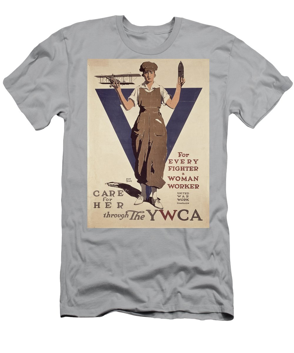 Propaganda Men's T-Shirt (Athletic Fit) featuring the painting For Every Fighter A Woman Worker by Adolph Treidler