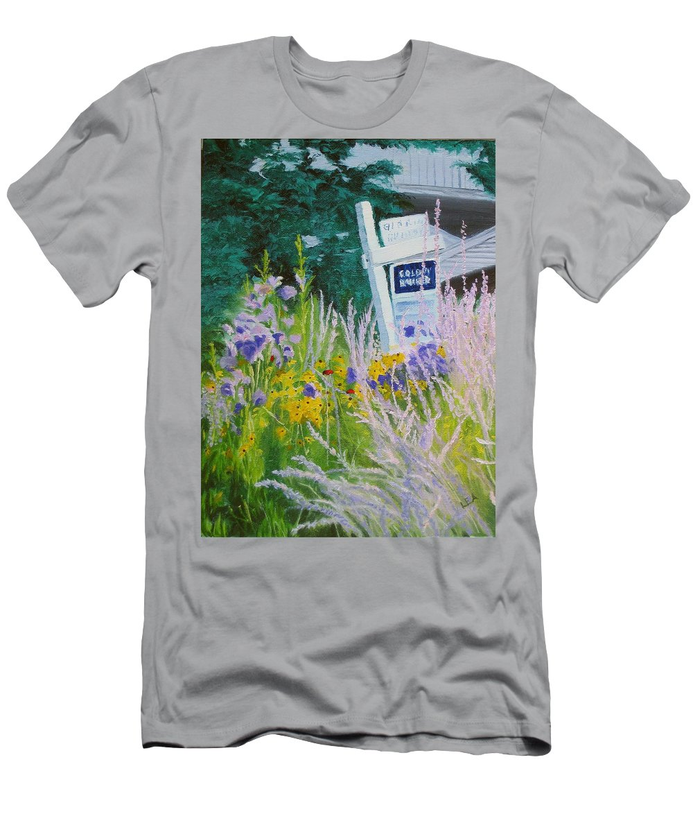 Landscape Men's T-Shirt (Athletic Fit) featuring the painting For Sale - A Patch Of Paradise by Lea Novak
