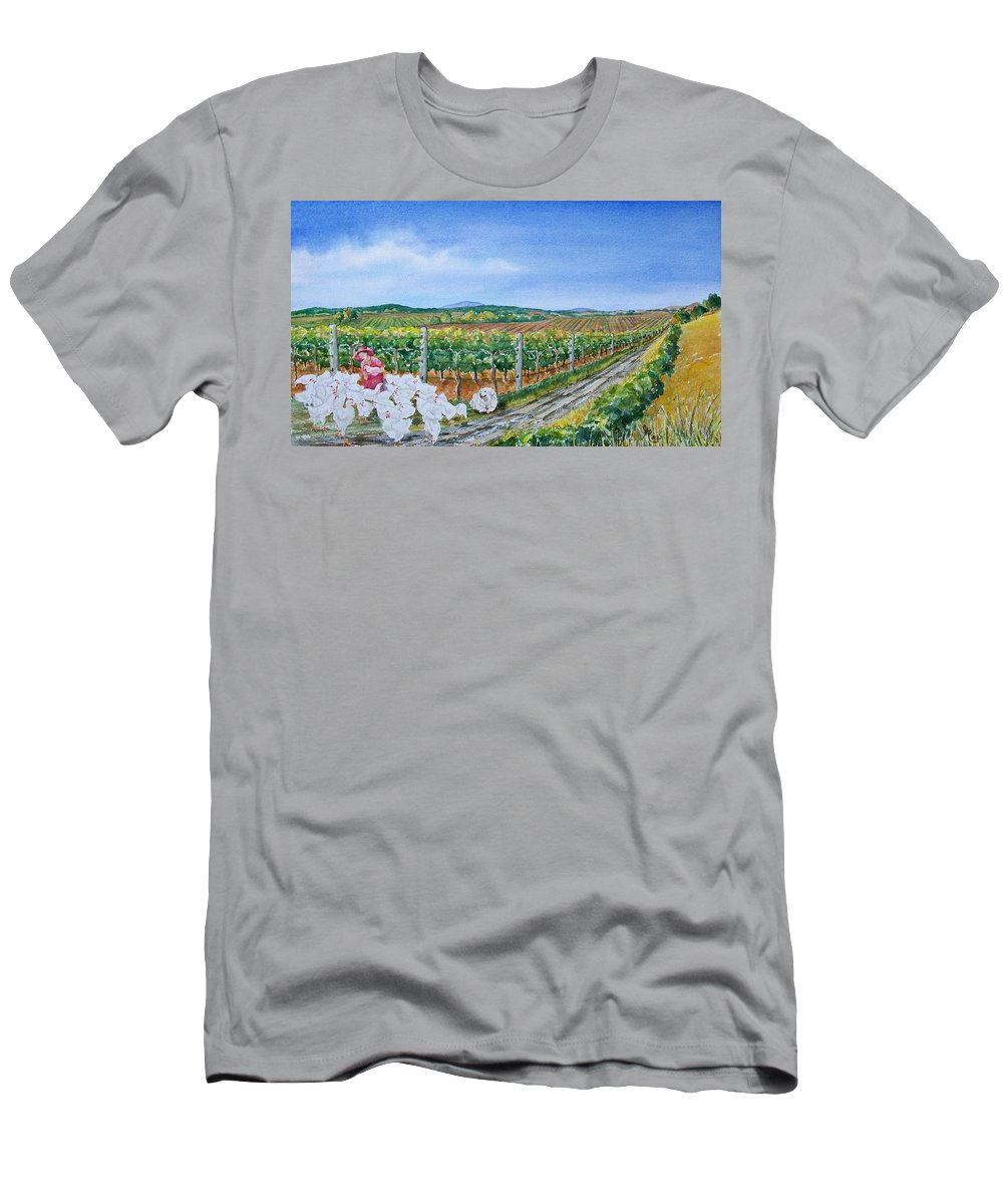 Chickens Men's T-Shirt (Athletic Fit) featuring the painting For The Love Of Chickens by Gale Cochran-Smith