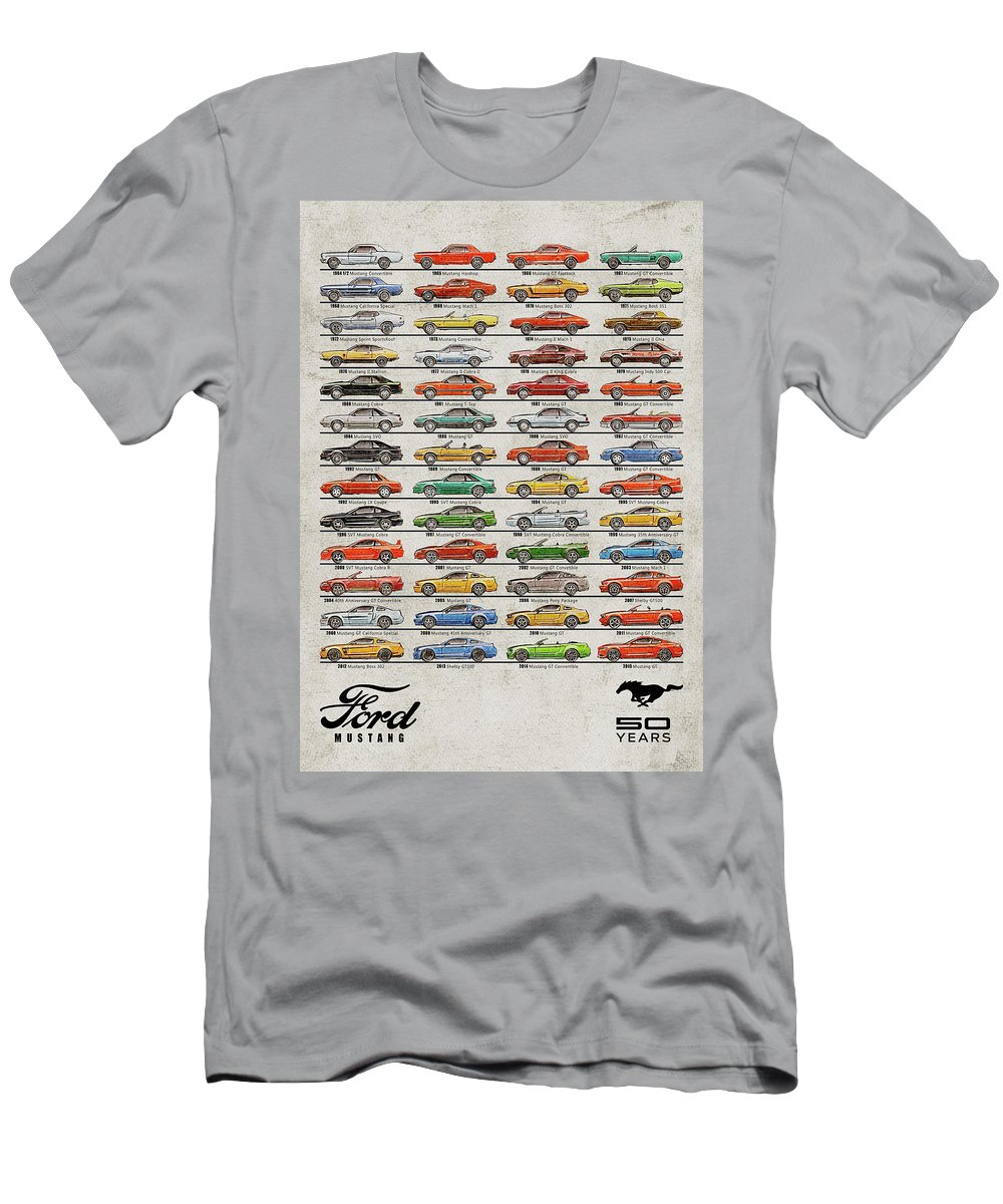 Vintage Mustang Men's T-Shirt (Athletic Fit) featuring the digital art Ford Mustang Timeline History 50 Years by Yurdaer Bes