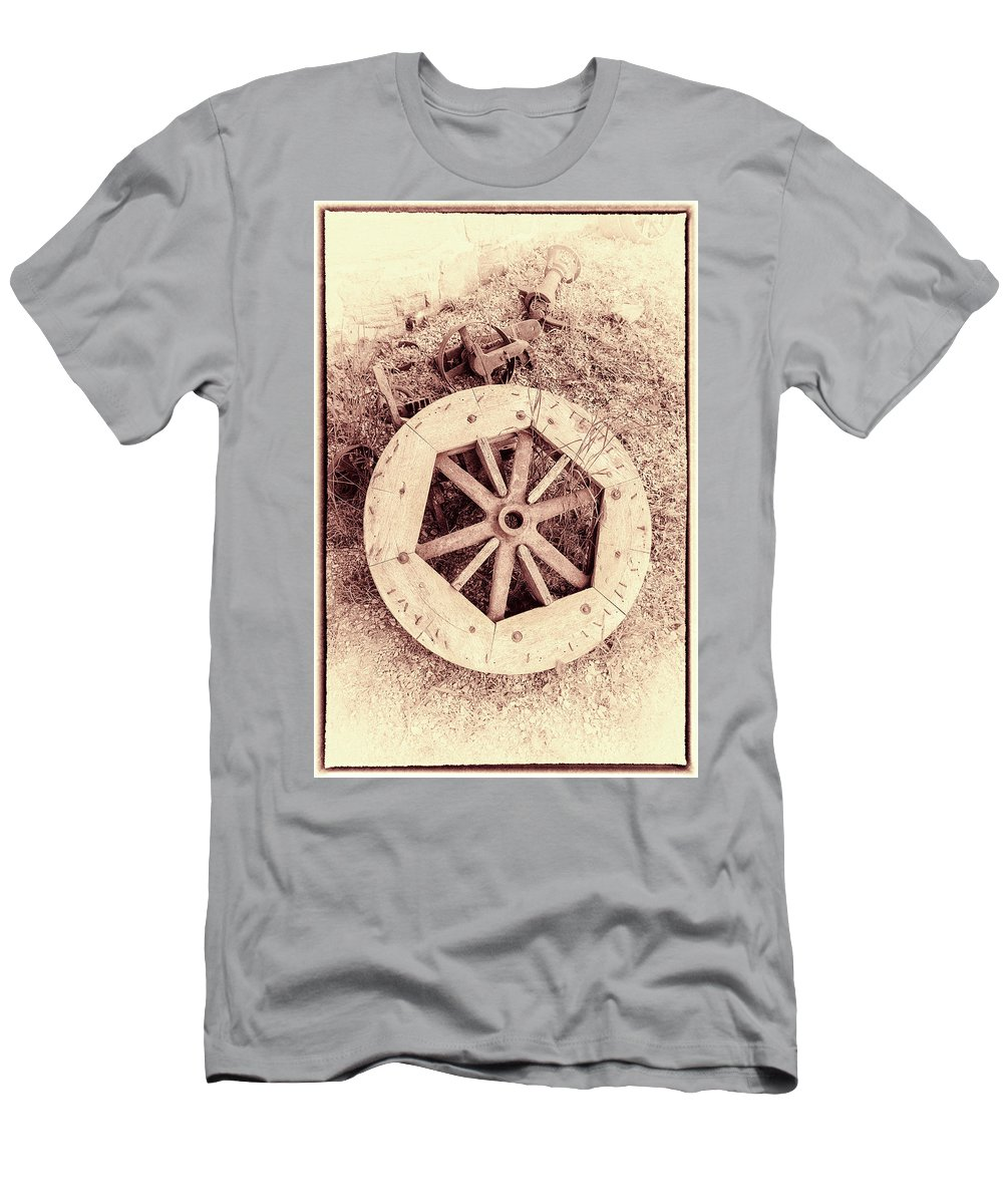 Wooden Wheel Men's T-Shirt (Athletic Fit) featuring the photograph Forgotten Work by Keith Bowen