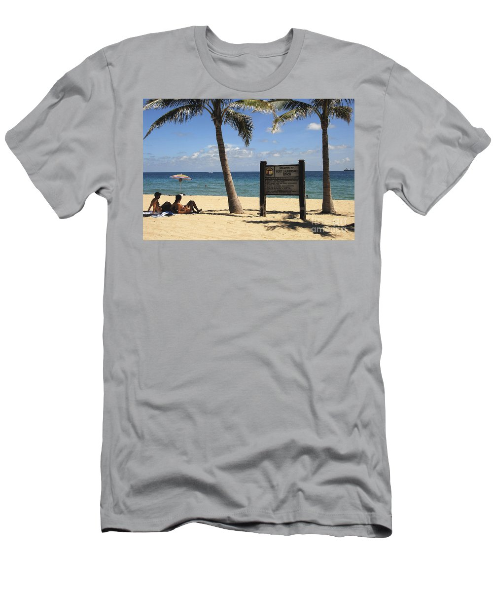 Fort Lauderdale Beach Florida Men's T-Shirt (Athletic Fit) featuring the photograph Fort Lauderdale Beach by David Lee Thompson