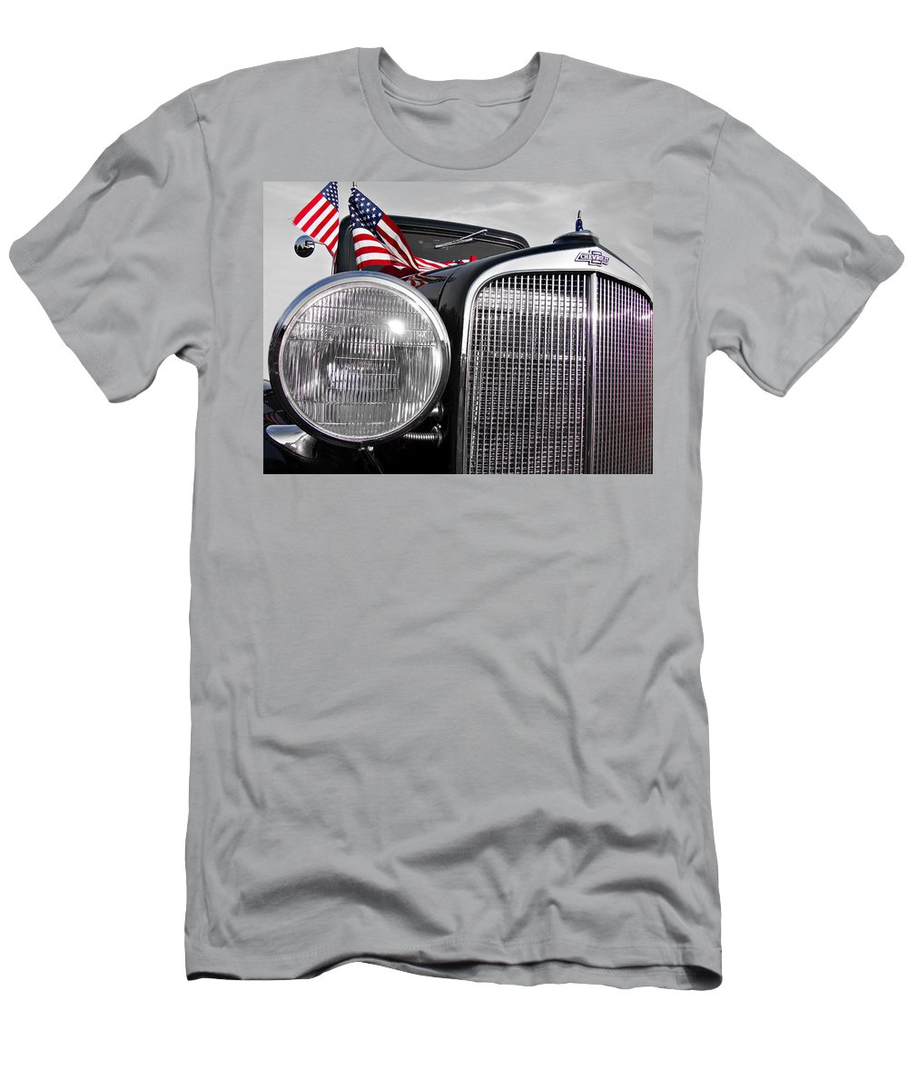 Chevrolet Men's T-Shirt (Athletic Fit) featuring the photograph Fourth Of July-chevvy by Douglas Barnard