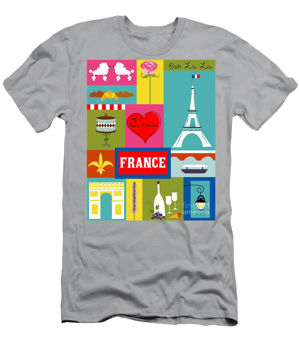 Paris Men's T-Shirt (Athletic Fit) featuring the digital art France Vertical Scene - Collage by Karen Young