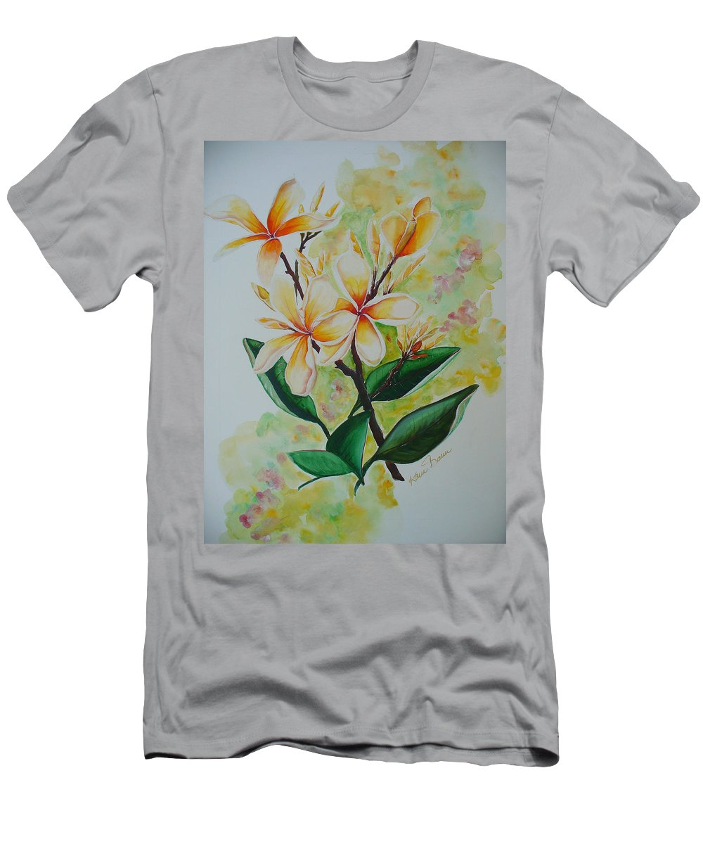 Men's T-Shirt (Athletic Fit) featuring the painting Frangipangi by Karin Dawn Kelshall- Best