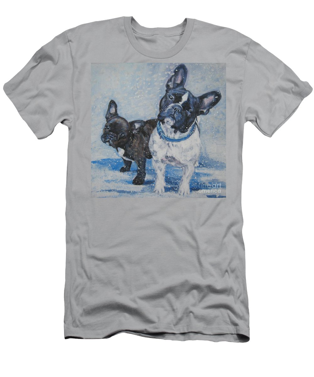 Dog Men's T-Shirt (Athletic Fit) featuring the painting French Bulldog Mom And Pup by Lee Ann Shepard