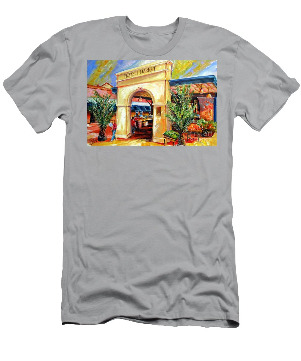 New Orleans Men's T-Shirt (Athletic Fit) featuring the painting French Market Sunshine by Diane Millsap