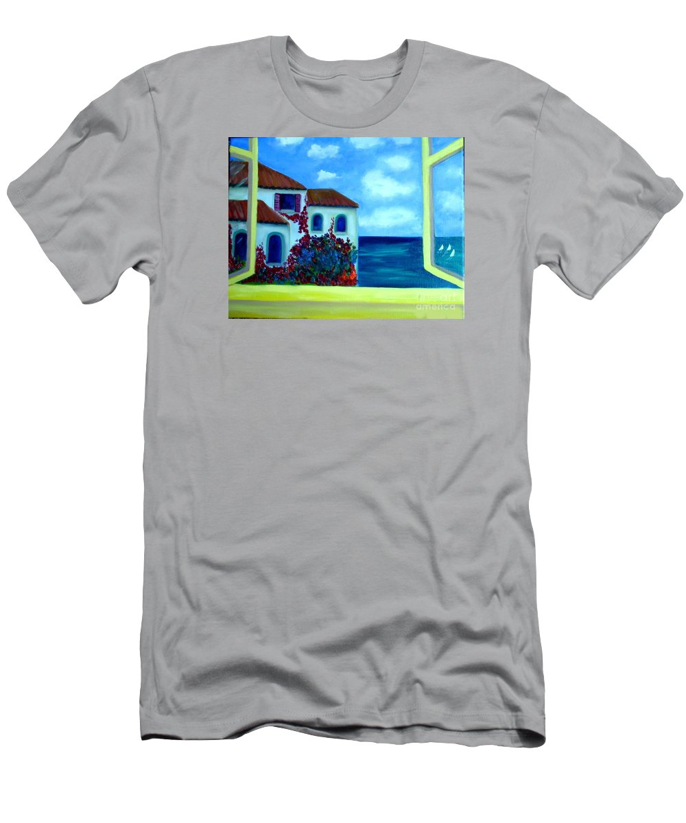 Seascape T-Shirt featuring the painting Fresh Sea Air by Laurie Morgan