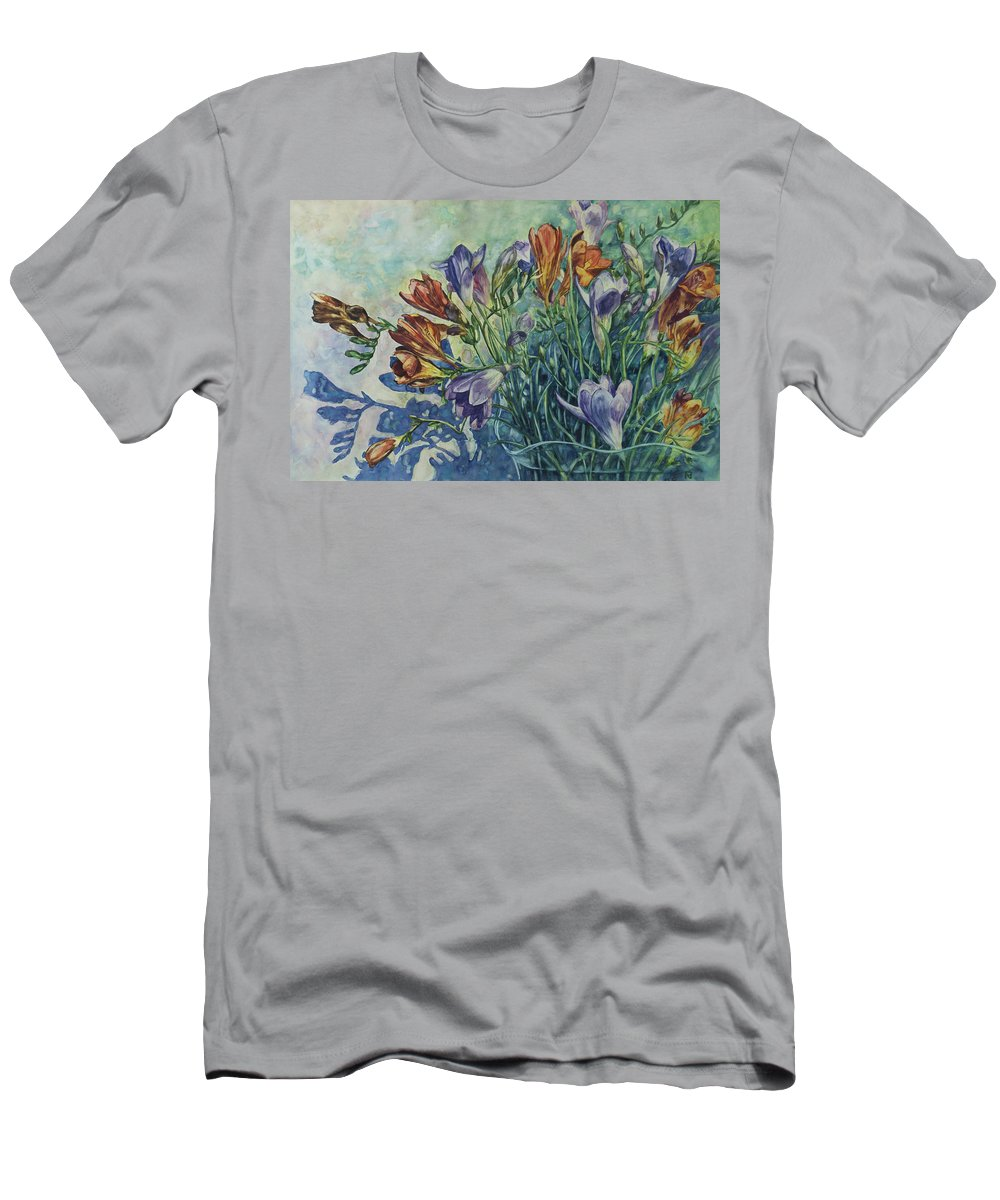 Flowers Men's T-Shirt (Athletic Fit) featuring the painting Frishias by Rick Nederlof