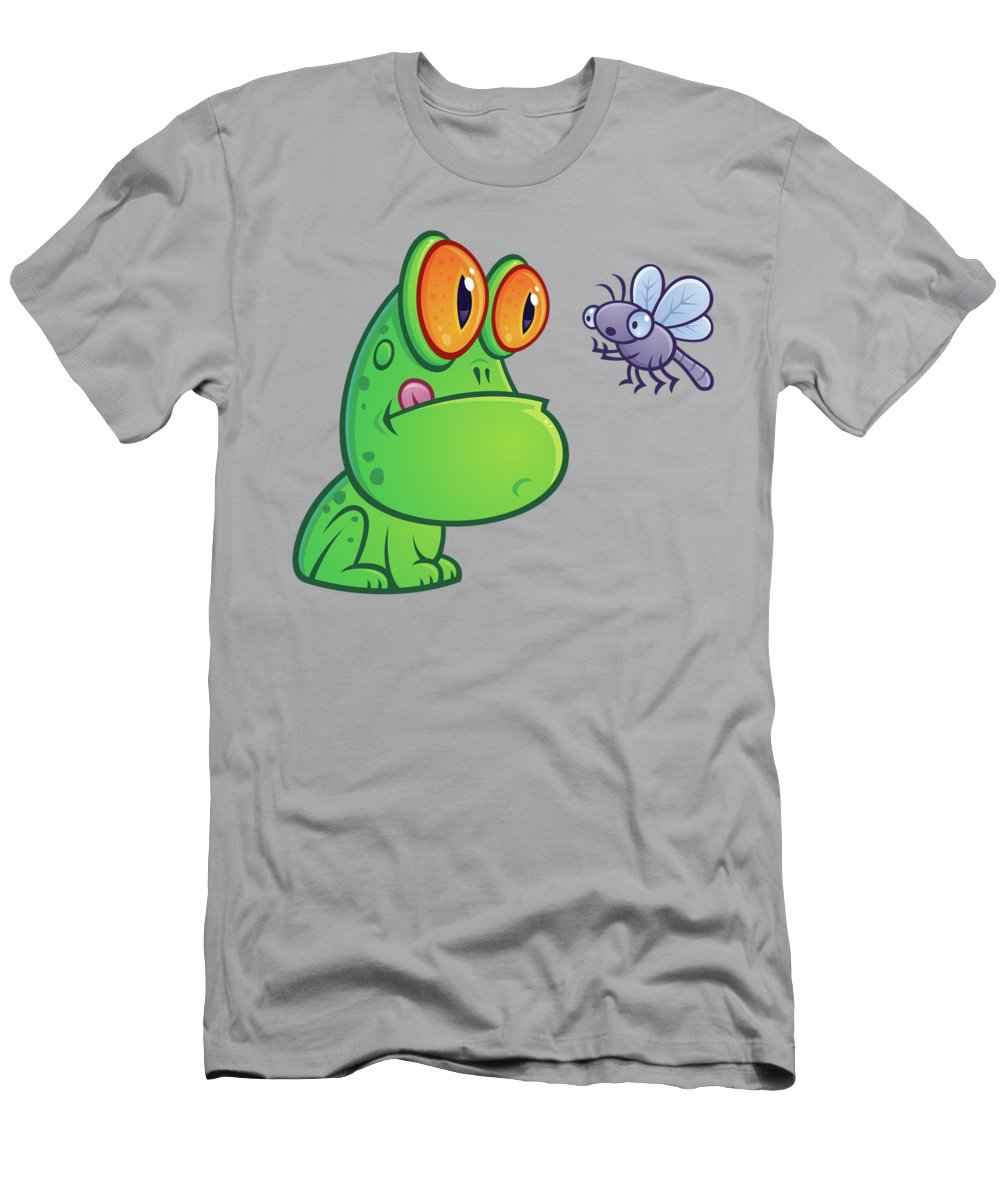 Frog Men's T-Shirt (Athletic Fit) featuring the digital art Frog And Dragonfly by John Schwegel